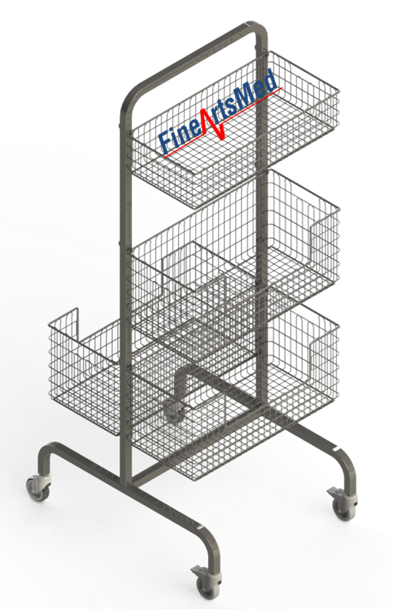 DIN STERILE BASKET RACK - DOUBLE WITH SHELVES