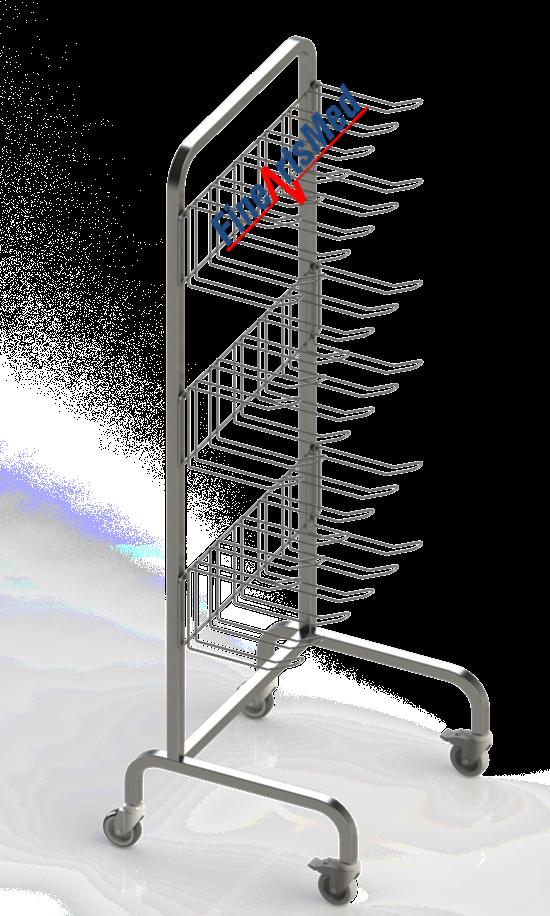 Rack with hooks, w shoe holder
